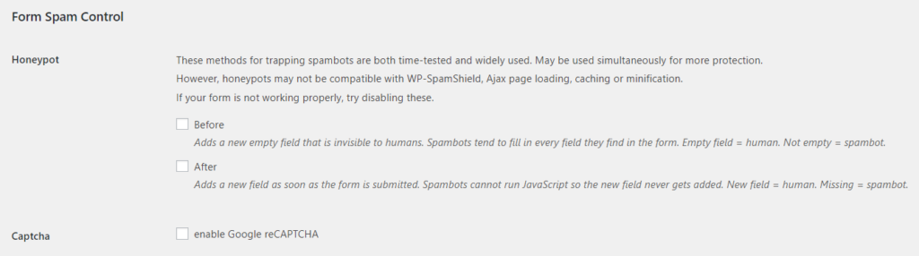 Adding spam control to your forms | Strong Testimonials