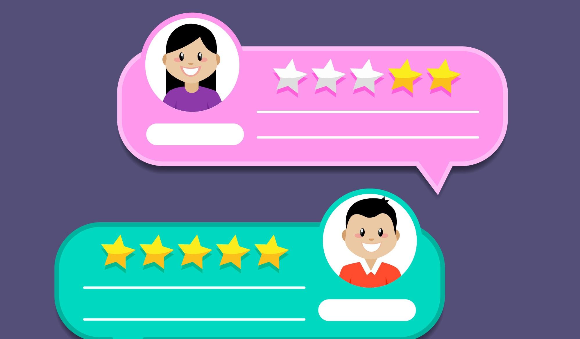 positive reviews, star ratings