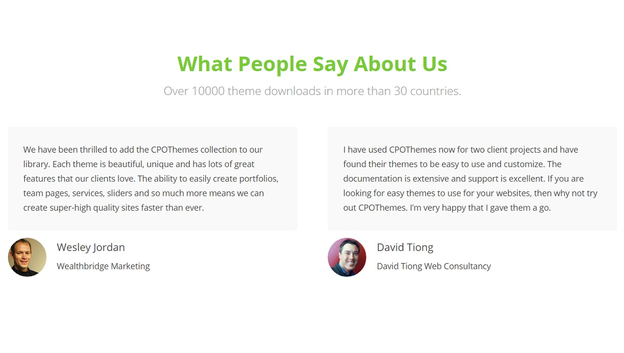 testimonial example from the CPO Themes website