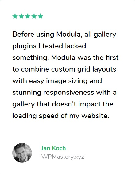 quote testimonial example for the Modula plugin