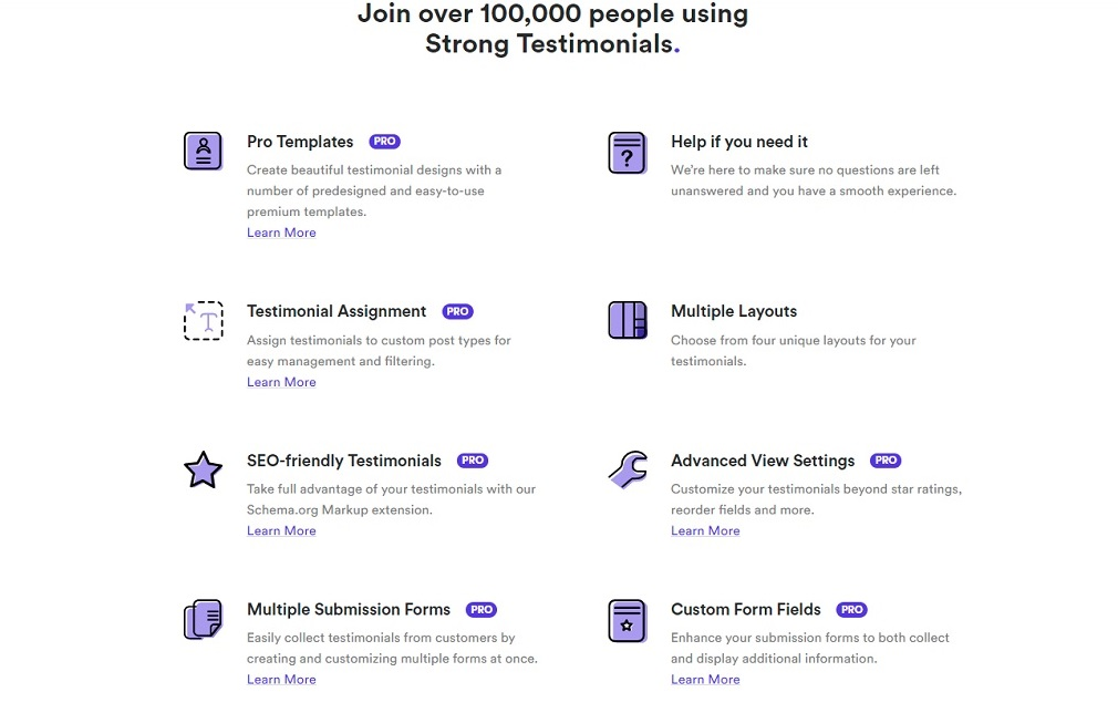 full set of features for the Strong Testimonials plugin