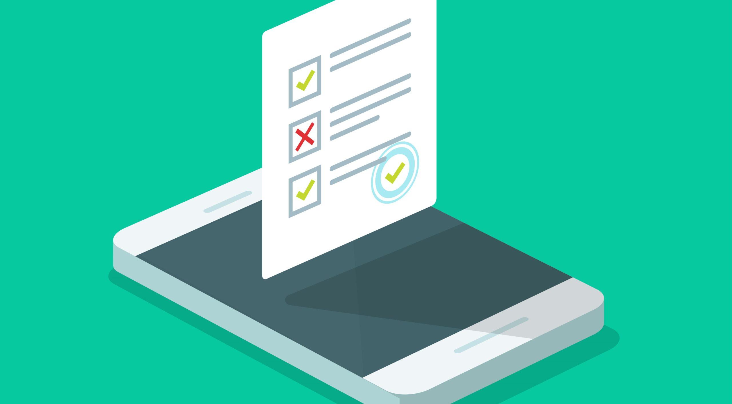 customer testimonial request form on website on smartphone display