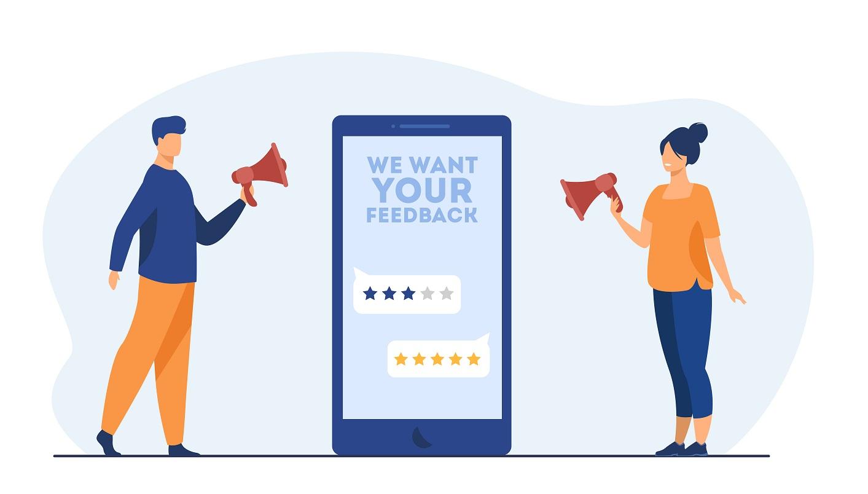man and woman with megaphone customer feedback customer ratings on phone