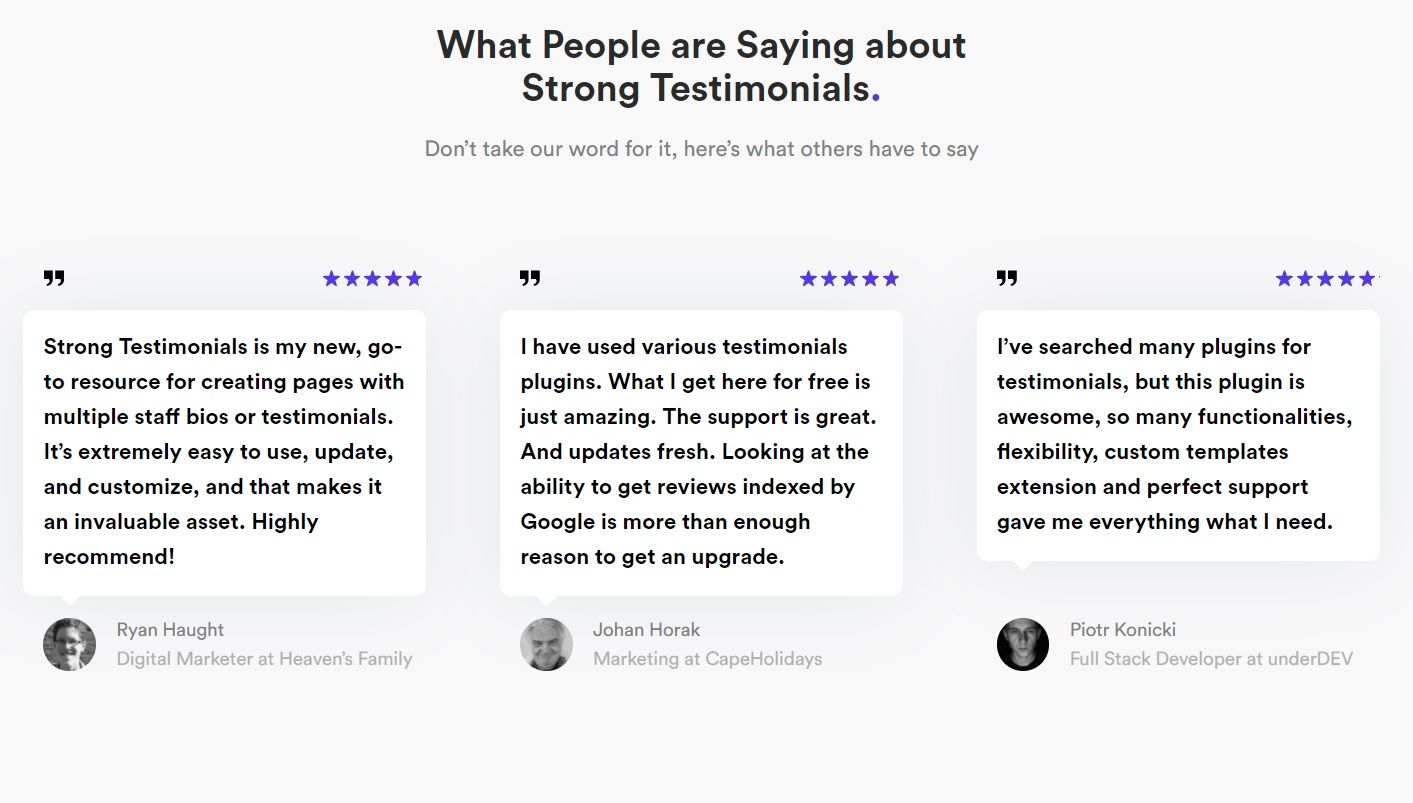 testimonial examples from Strong Testimonials