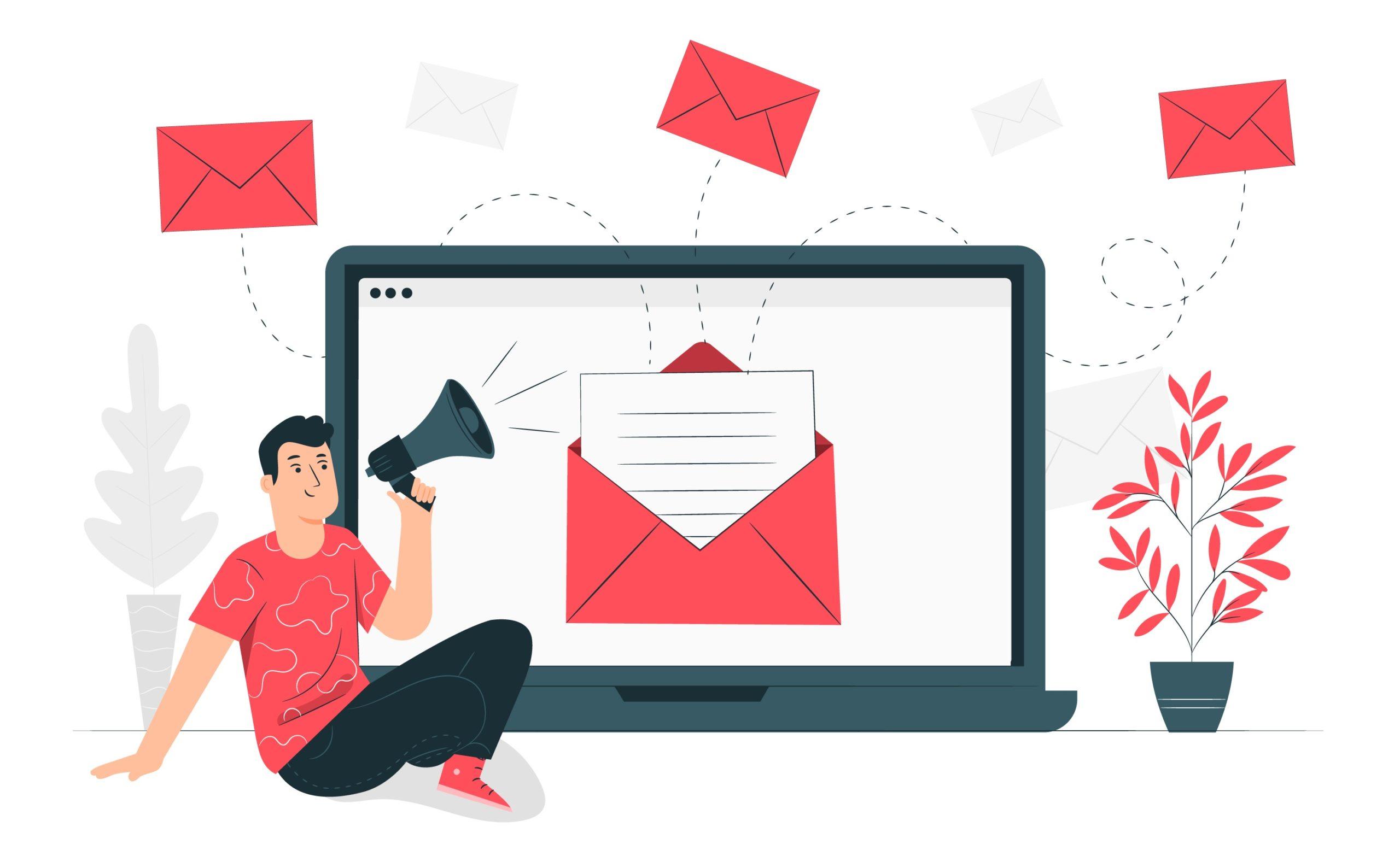 men sending an email how to gather testimonials