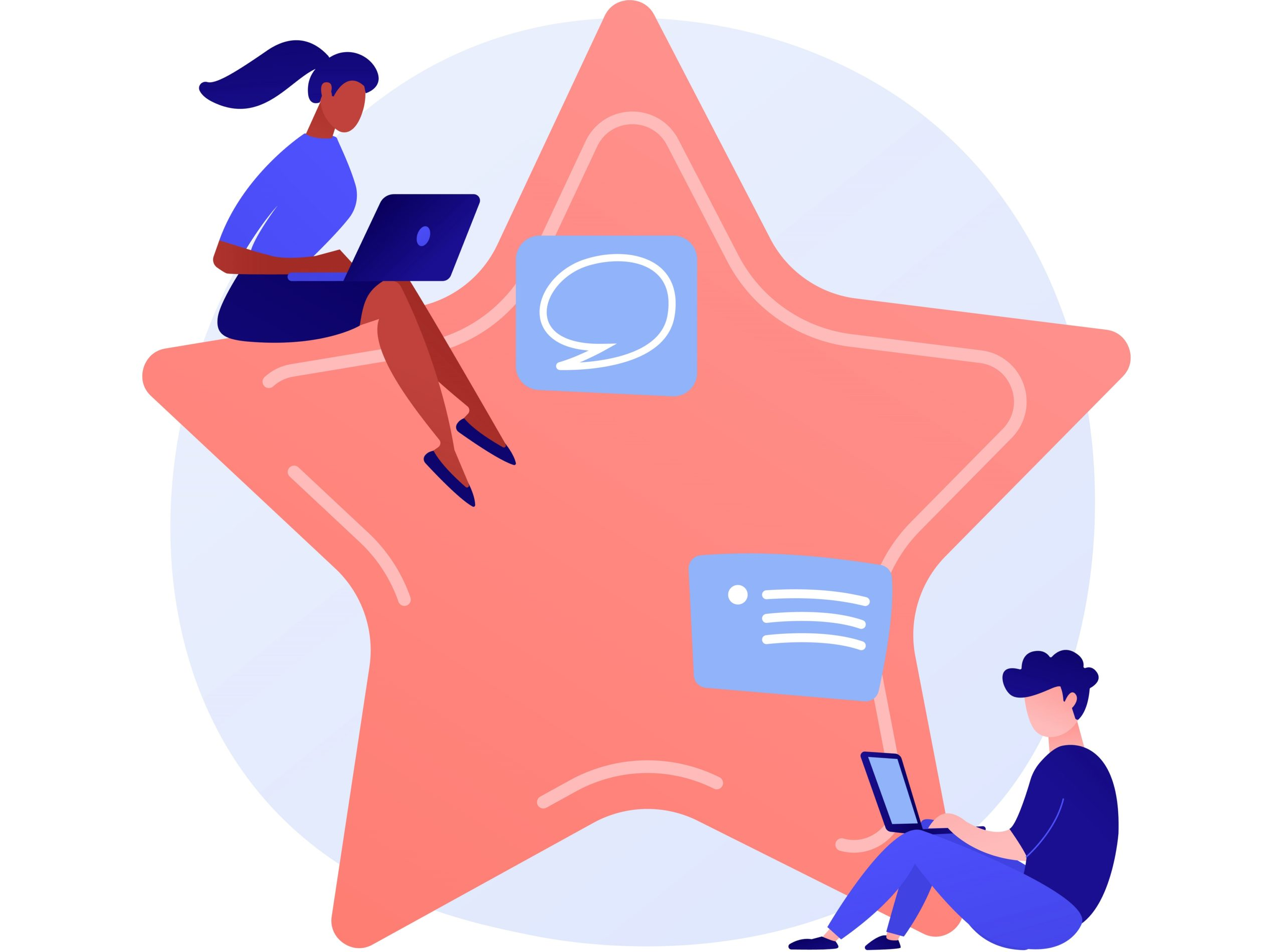 how to write a testimonial; people on laptops giving star rating