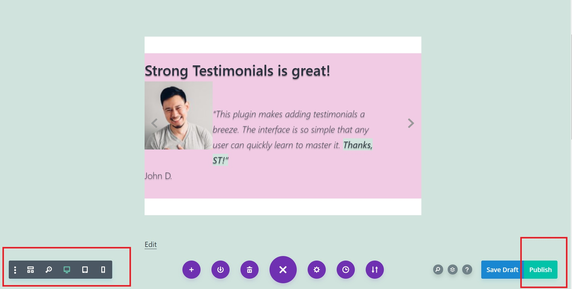 publish your testimonial page in Divi