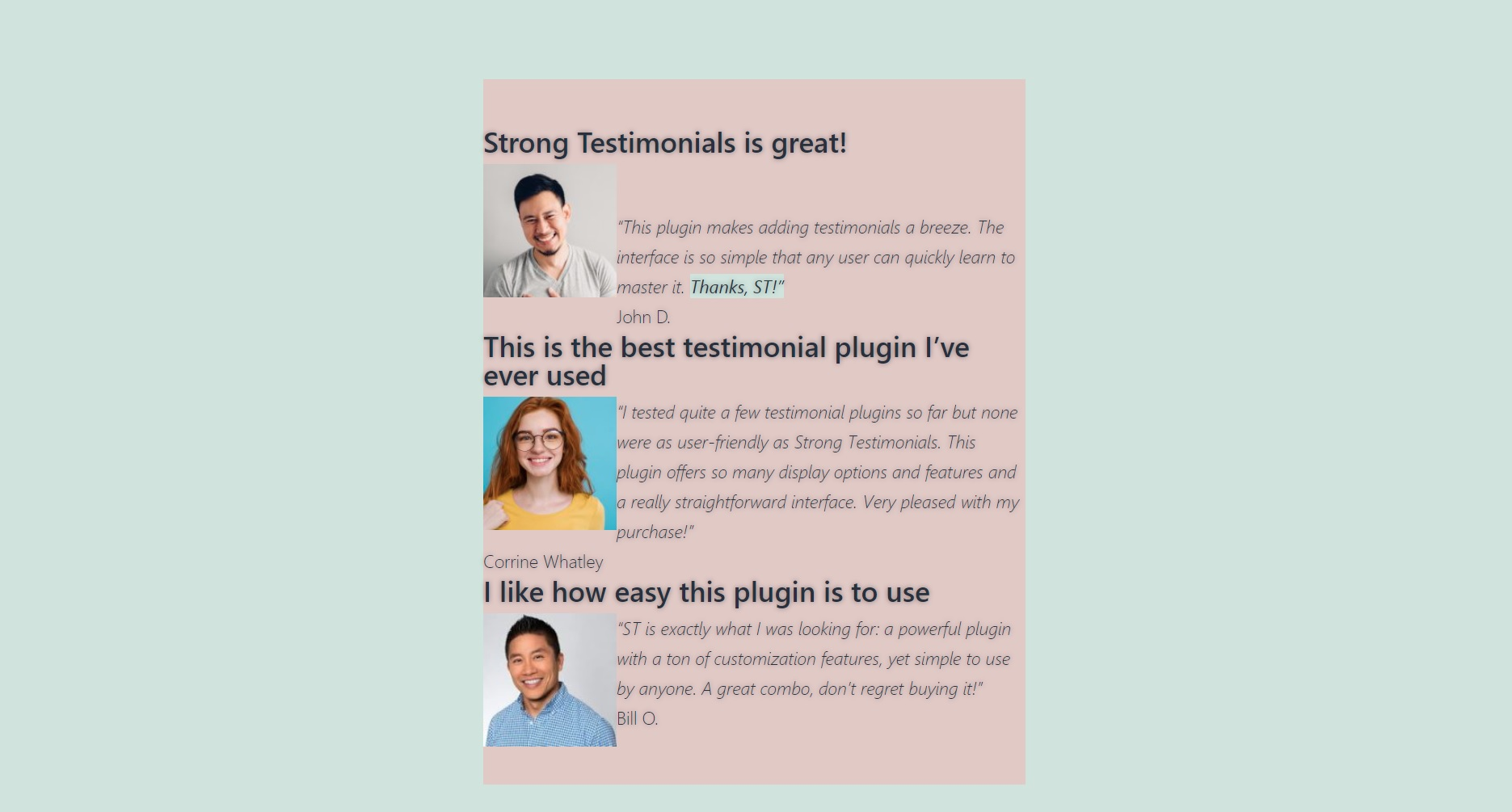 testimonial list Yoin Divi