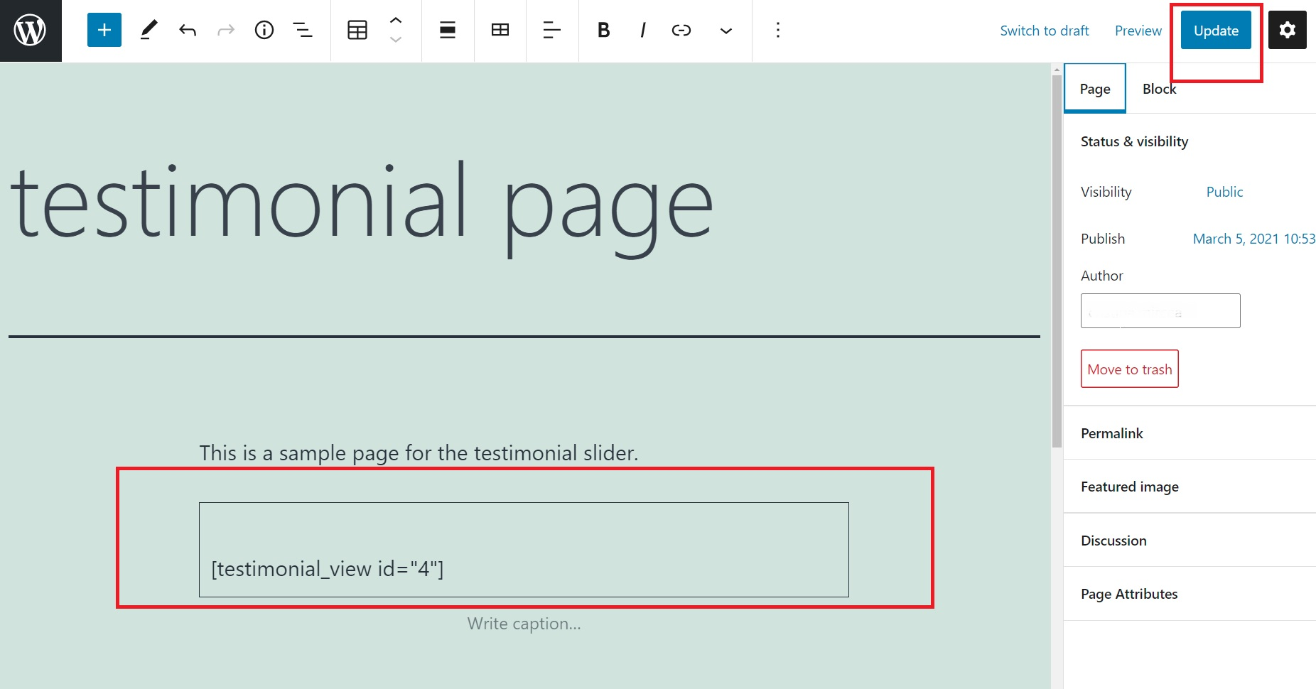testimonial slider shortcode pasted on page in wordpress