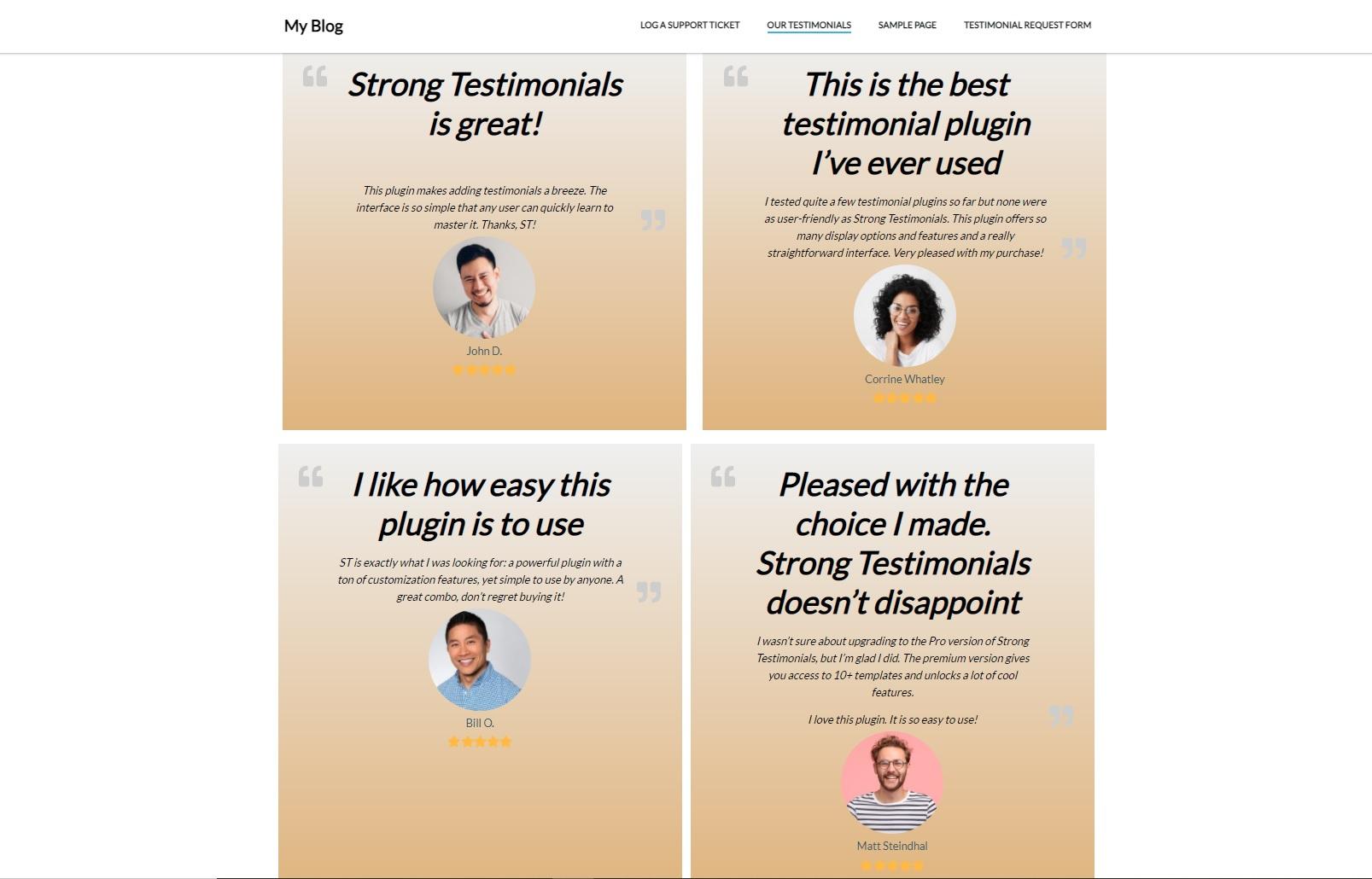 Strong Testimonials testimonials template