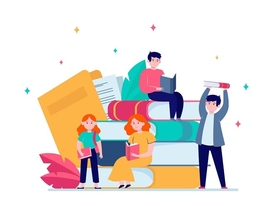 happy students reading