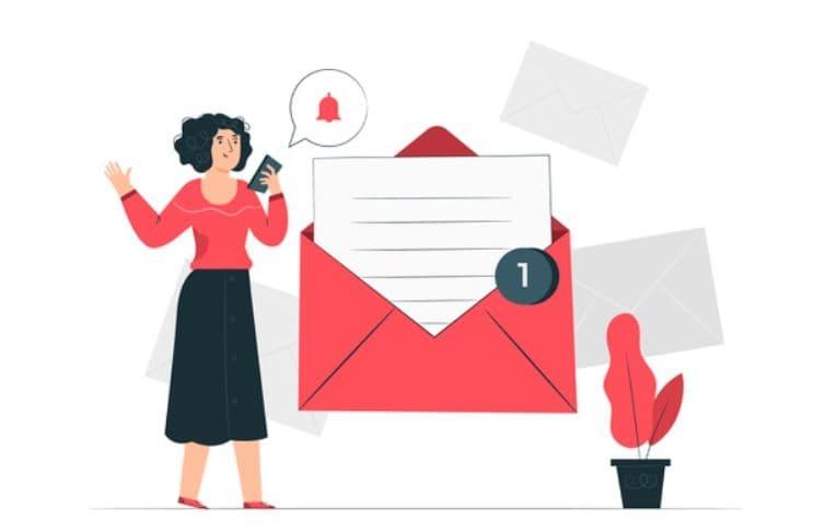 woman sending email testimonial