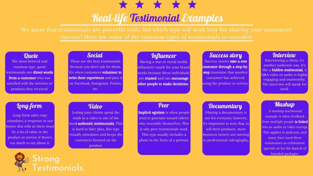 Testimonial examples