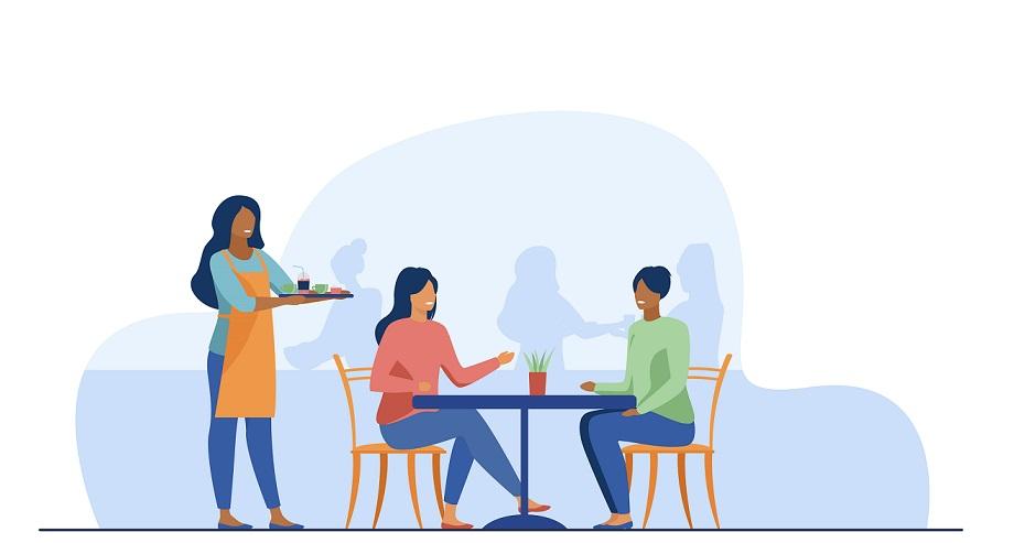 Two women having dinner at a restaurant