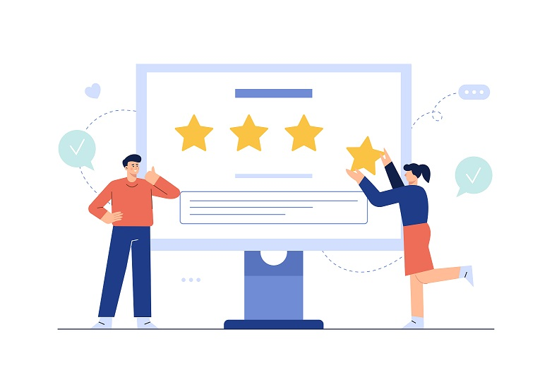 Happy customers giving positive feedback