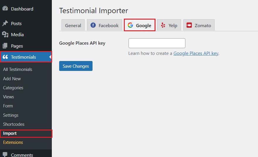 Import Google API key. to display Google reviews to wordpress