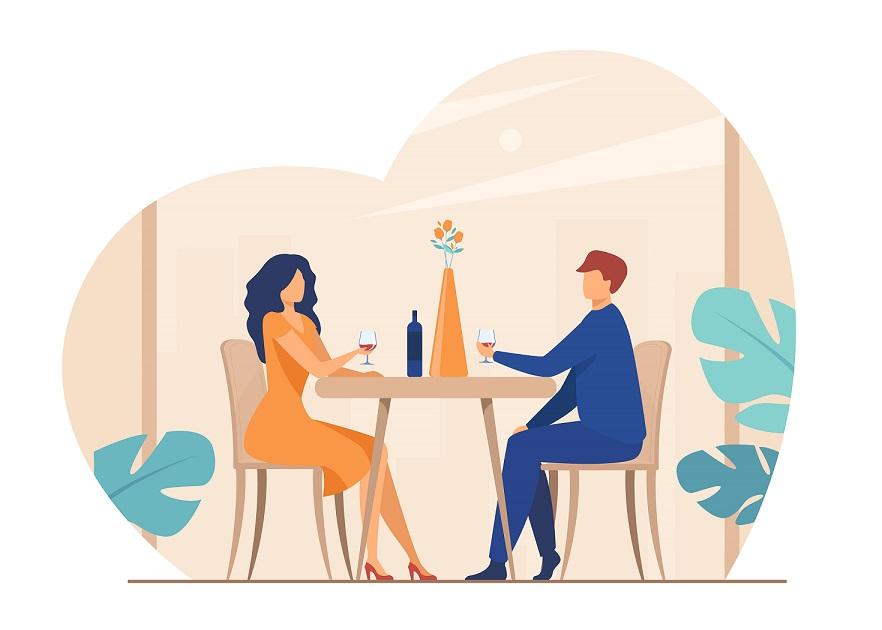 Couple having dinner at a restaurant