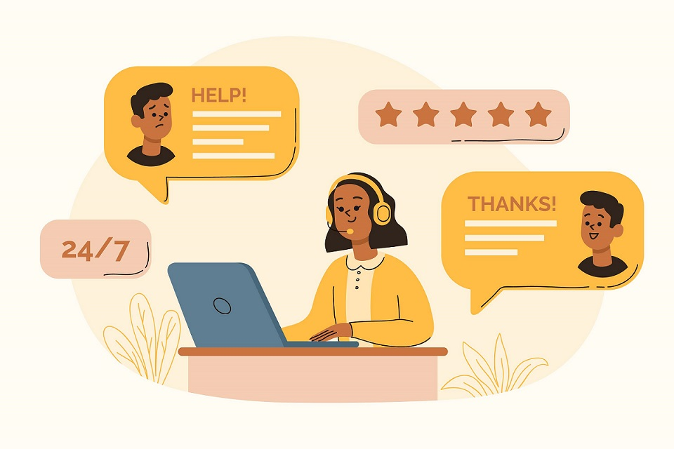 Customer support helping clients