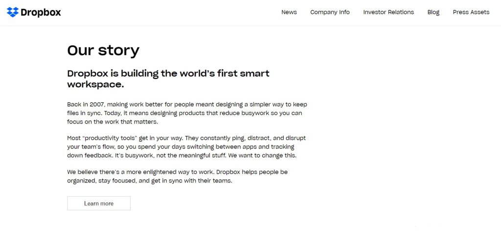 Dropbox 'About Us' page