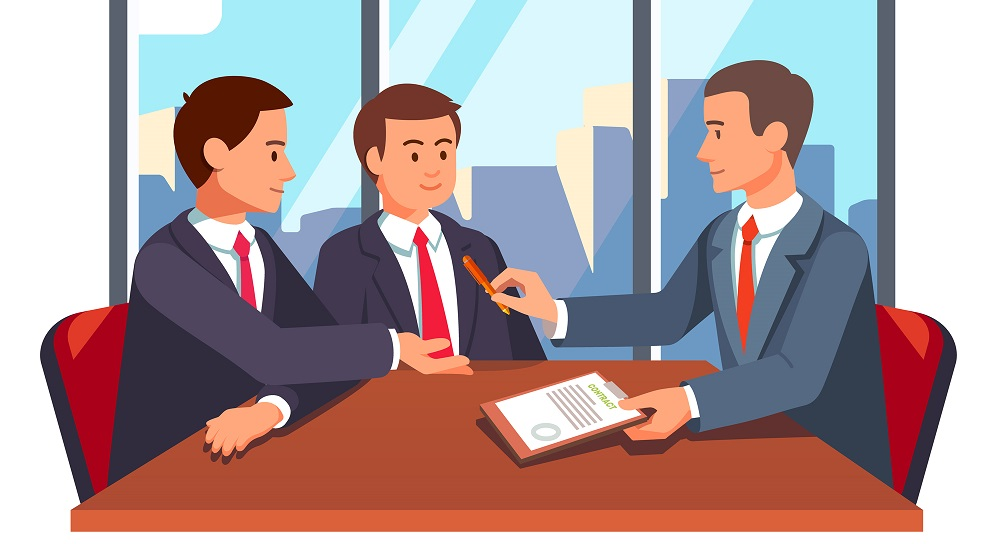 Lawyer and clients meeting