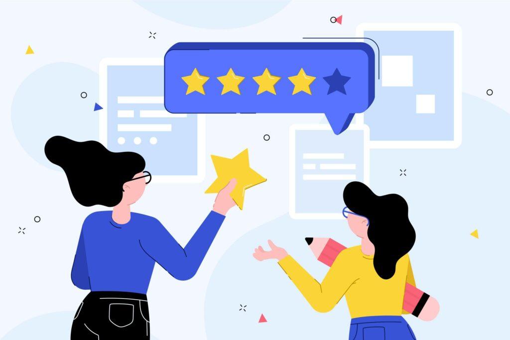 Customers giving testimonials