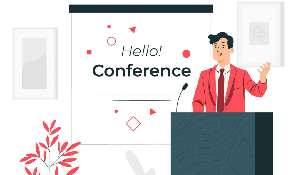 Life coach holding conference