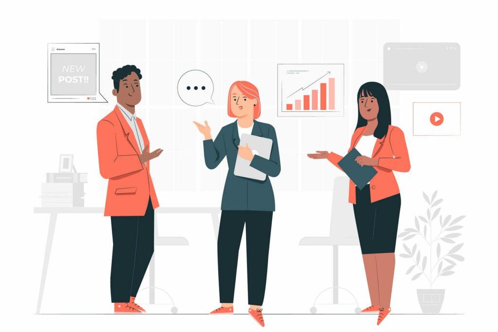 Marketeers discussing persuasive strategies